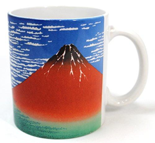 葛飾北斎 赤富士山マグカップ