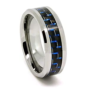 8mm Tungsten Carbide Black And Blue Carbon Fiber Men S Wedding Band