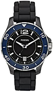 Women Watch Fossil CE1036 Black Ceramic Case Blue Bezel Black Dial Black Silico Women Watch Fossil