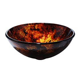 Kraus Fire Opal 14 inch Tempered Glass Bathroom Vanity Vessel Sink Bowl Basin