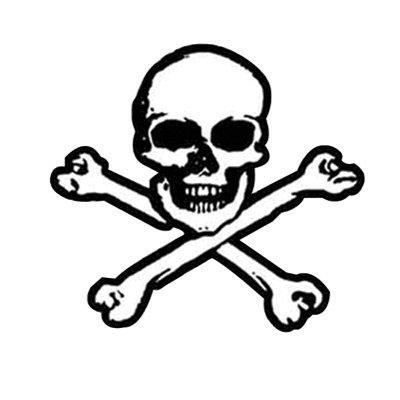 Hot Leathers Helmet Sticker - Skull & Bones 2.5