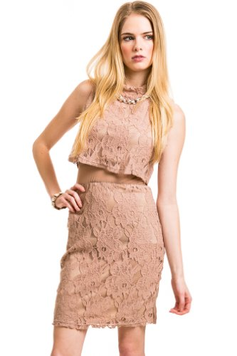 High Neck Tiered Lace Dress In Mauve