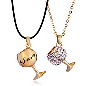 Pugster 2 Pieces of Smooth Clear Crystal Couple Love Goblet Gold Pendant