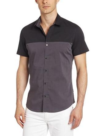 海淘CK男装:Calvin Klein 男士拼色短袖休闲衬衫