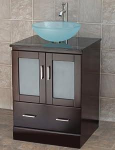 24 bathroom vanity solid wood cabinet black granite top vessel sink
