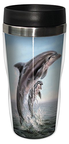 Tree-Free Greetings 25920 Linda Thompson Dolphin Leaping Sip 'N Go Stainless Lined Travel Mug, 16-Ounce
