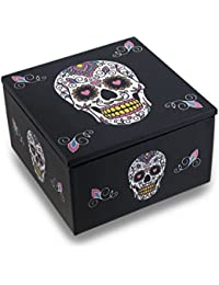 Day Of The Dead White Sugar Skull Dia De Los Muertos Mirrored Trinket Box By Zeckos