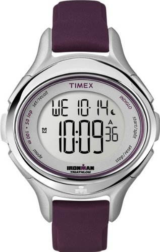 Timex T5K498SU Timex Ironman 50 Lap Ladies Watch Quartz Digital Multicolour Dial Purple Resin Strap