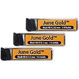 June Gold Lead Refills, 330 Pieces, HB #2 0.7 mm, Medium Thickness, Break Resistant Lead with Convenient Dispensers
