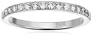 14k White Gold 2mm Half Eternity Diamond Wedding Band Wedding Band, Size 5.5