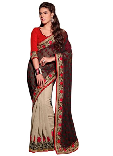 Aasri Women Jute Silk and Chiffon Wedding Saree with Blouse Piece