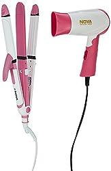 Nova Freshers Pack NHS 897 and NHP 8104 Foldable Hair Dryer (White/Pink)