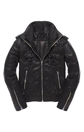 Superdry Slim Fit Ryan Leather Moto Biker Bomber Jacket