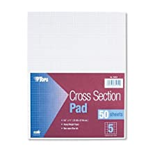 TOPS Cross Section Pad, 1 Pad, 5 Squares/Inch, Quadrille Rule, Letter Size, White, 50 Sheets/Pad, 1 Pad (35051)