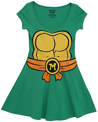 Teenage Mutant Ninja Turtles Michelangelo Costume Skater Dress, S to XL
