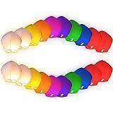 Lot de 20 Lanternes volantes multicolores chinoise colorées fête soirée mariage romantique évenement nocturne plein air