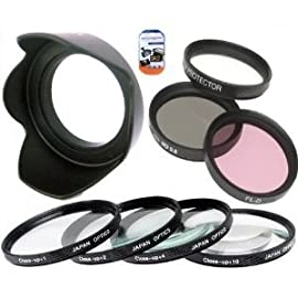 62mm Multi-Coated 7 Piece Filter Set Includes 3 PC Filter Kit (UV-CPL-FLD-) And 4 PC Close Up Filter Set (+1+2+4+10) For Pentax 105mm f/3.2-4.5 IF AL Lens+ Hard Tulip Lens Hood+ Cap Keeper + MicroFiber Cleaning Cloth + LCD Screen Protectors
