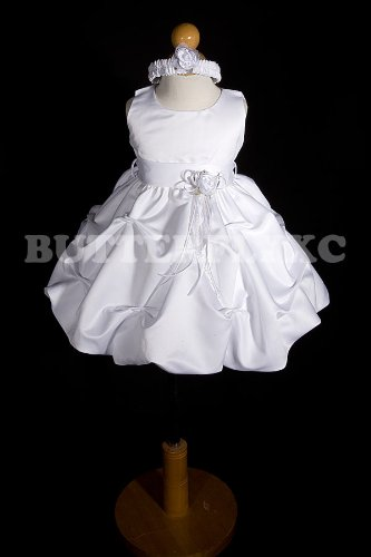 NEW White Baby Flower Girl Dress + Free Hair Wreath Size 6mo 9mo 12mo 18mo 2t 3t 4t
