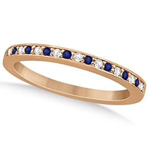 Semi-Eternity Pave-Set Channel Design Blue Sapphire and Diamond Wedding Band in 14k Rose Gold 0.29ct