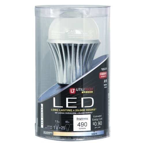Utilitech 7.5-Watt (40W) A19 Medium Base Daylight