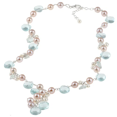 New York Pearls Sterling Silver Blue Topaz, Glass and FW Pearl Necklace (4-7 mm)