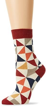 PACT Women's Quilted Crew Sock, Multi Colored, One Size