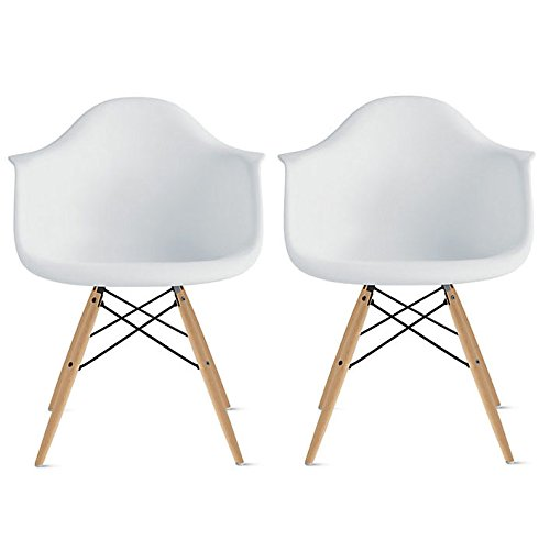 2xhome Set Of 2 Dining Arm Chair Set White Solid Wood Nature Brown Legs Eam