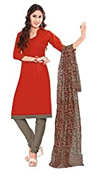 Women Latest Fancy Designer Salwar Suit Dress Material Khadi Red Dyed + Lace Unstitched