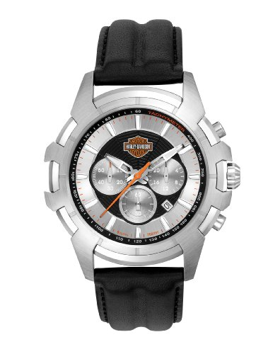Harley-Davidson® Men's Spider Collection Watch - Silver Face. Sweep Second Hand. Luminous Markets. Tachometer. 76B161