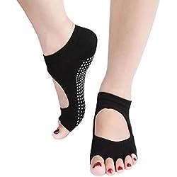 Sannysis® 1Pair Esercizio Mezza Toeless caviglia danza Nessuno slittamento Yoga Socks Pilates (Black)