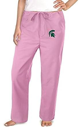 Michigan State University Pink Scrubs Pants Bottoms-Sz MED- MSU Spartans Logo La