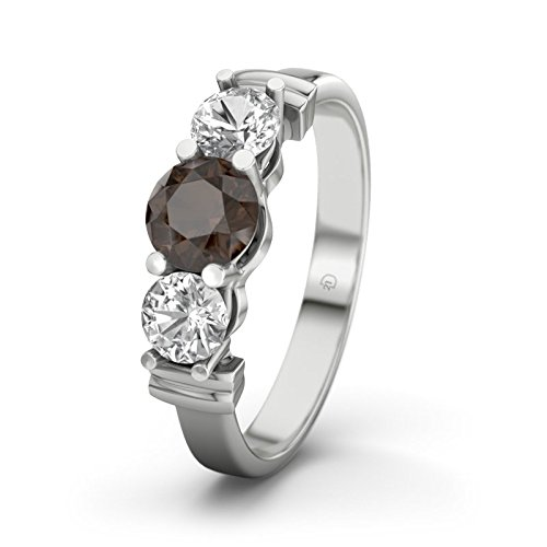 Sabrina 21DIAMONDS Women's Ring with Round Brilliant Cut Engagement Ring with Smoky Quartz, Silver engagement ring