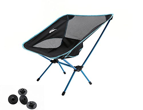 Luxetempo Heavy Duty Folding Camping Chair with Replacement Foot Caps-Unltralight Aluminum for Backapcking Travle Fishing Outdoor Party Blue (Folding Chair Replacement Parts compare prices)
