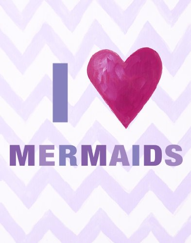 "Cici Art Factory I heart Mermaids Wall Decor, Lilac, 8"" x 10"""