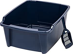 IRIS Cat High Sided Litter Pan w/ Scoop, Large, Navy