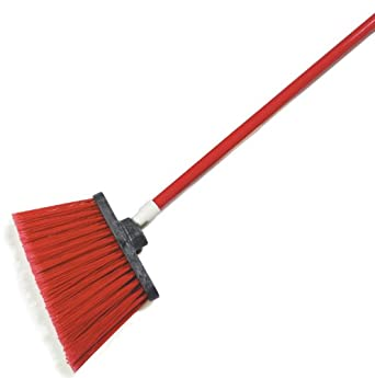 """Carlisle 4108205 Sparta Spectrum Flagged Duo-Sweep Polypropylene Angle Broom with 48"""" Fiberglass Handle, 54"""" Overall Length, 12"""" Width, Red (Case of 12)"""