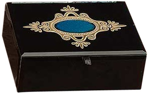 StealStreet SS-A-66010 Glass Jewelry Box Holder Container, Black