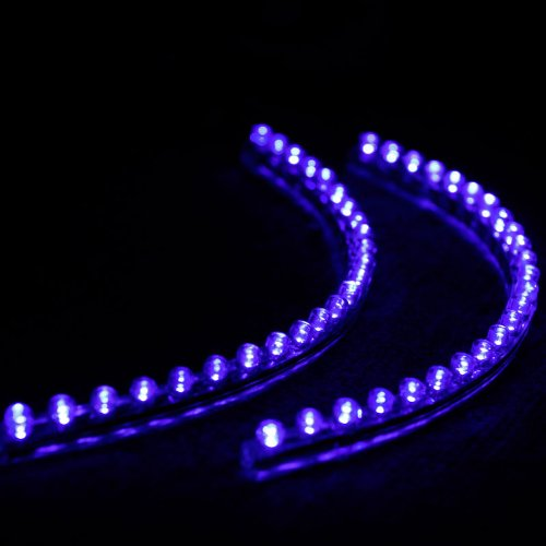 "2 Pcs 24Cm(9.5"") 24 Leds Flexible Waterproof Pvc Light Strip Blue 12V"