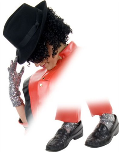 [Heaven Moonwalk Socks and Beat It Gloves For Your King of pop Halloween Costume - 2 Glitter socks and 2 gloves teen to] (Mj Thriller Halloween Costume)