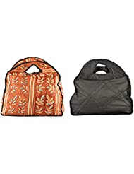 Bag Studio Satin 14 Cms Multicolour And Black Travel Handbag (Combo Of 2) - B01HRTHHZ2