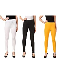 Svadhaa White Black Yellow Cotton Lycra Leggings(Pack Of 3)