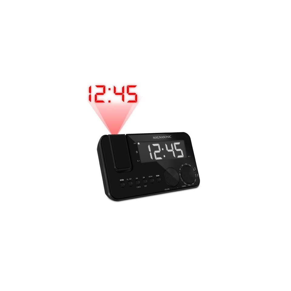 Magnasonic Projection Clock Radio Dual Alarm Battery Backup