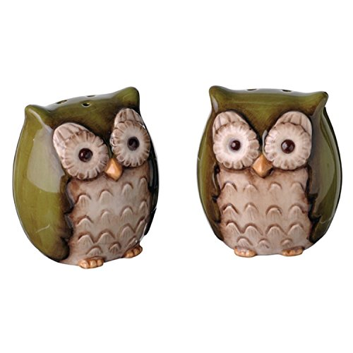 Owl Salt & Pepper Shakers, Green