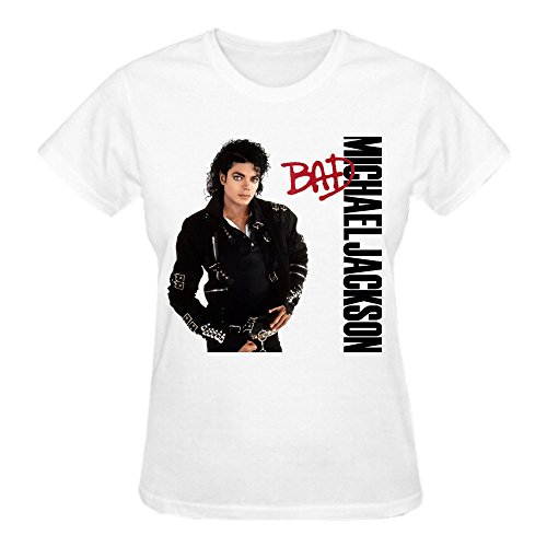 Latoca Michael Jackson Bad Premium cotton Graphic T Shirts For Women Crew Neck White (Lil Martin Guitar compare prices)