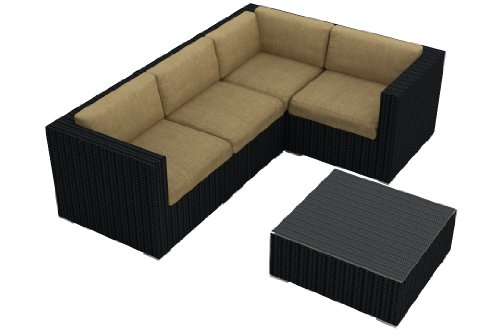 Harmonia Living Urbana 5 Piece Modern Outdoor Sofa Sectional Set with Tan Sunbrella Cushions (SKU HL-URBN-5SECT-HB) image
