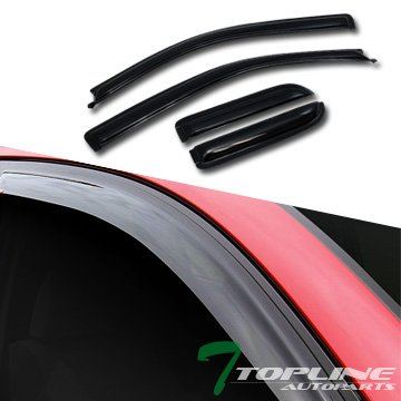 Topline Autopart Sun Rain Smoke Guard Vent Shade Deflector Window Visor 04-14 Ford F150 Super Extended Cab (Half Moon Sun Shade compare prices)