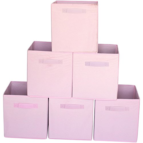 Premium Storage Cube - Fabric Basket Bins - Organize Your Closet, Bedroom & Nursery (Pink Set of 6)