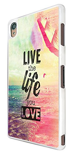 305 - Live The Life You Love Design für Alle Sony Xperia Z / Sony Xperia Z1 / Sony Xperia Z2 / Sony Xperia Z3 / Sony Xperia Z4 / Sony Xperia Z1 Compact / Sony Xperia Z2 Compact / Sony Xperia Z3 Compact / Sony Xperia Z4 Compact / Sony Xperia M2 / Sony Xperia M4 Fashion Trend Hülle Schutzhülle Case Cover Metall und Kunststoff - Bitte wählen Sie Ihr Telefonmodell und Farbe aus der Dropbox
