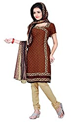 Lovely Look Latest Brown Printed Dress Material