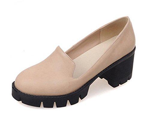 Sfnld Women's Retro Slip On Mid Heel Leather Pump Shoes